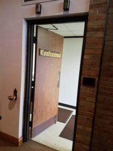 Confessional door open