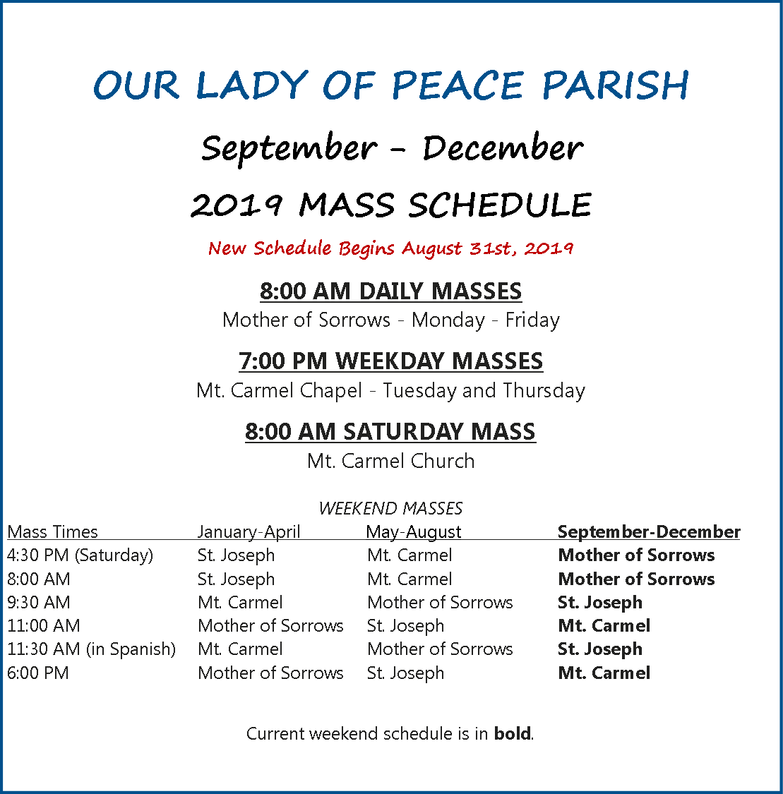 September - December 2019 Mass Schedule